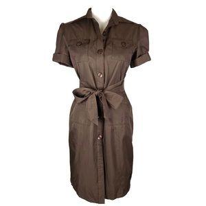 Diane Von Furstenberg Shirt Dress Solid Brown